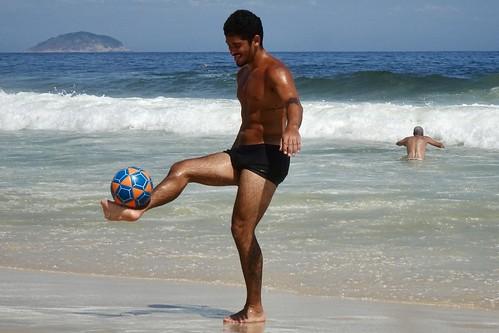 Player on Leme Beach