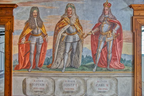 Wall paintings in the Spanish Hall at castle Ambras in Innsbruck, Tyrol, Austria
