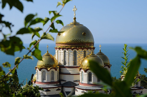 The domes of the Church of St. Panteleimon. New Athos Monastery, Abkhazia (1888-1900).