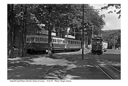 Laxey. Snaefell and MER trains. 16.8.59