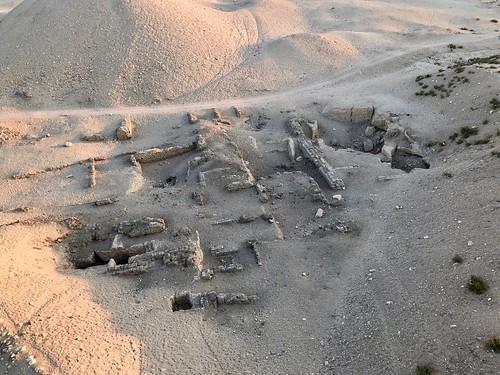 Égypte, Vallée des Rois, Deir el-Bahari, Vestiges vus de la mongolfière