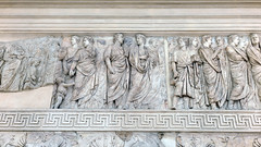Ara Pacis Augustae, family of Augustus (left) Ara Pacis Augustae, procession (north), Priestly college figures (right)