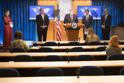 Secretary Pompeo, Secretary Esper, Attorney General Barr, and National Security Advisor O'Brien Hold a Press Availability, From FlickrPhotos