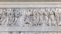 Ara Pacis Augustae, procession (north), figures of the Priestly college (association) of Septemviri epulones