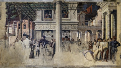 Mantegna, Martyrdom of St Christopher (left) and Transporting of the body of St Christopher (right)