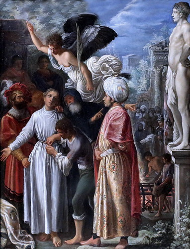 IMG_8322 Adam Elsheimer. 1578-1610.   Francfort sur le Main Rome.   Saint Laurent  préparé pour le martyre Saint Lawrence prepared for Martyrdom.  vers 1600.   Londres National Gallery.