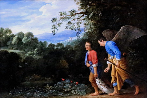 IMG_8308 Adam Elsheimer. 1578-1610.  Francfort sur le Main et Rome Tobias et l'archange Raphaël reviennent avec le poisson Tobias and the Archangel Raphael returning with the Fish.   Londres National Gallery.  Copie vers 1650  d'une oeuvre perdue de Elshe