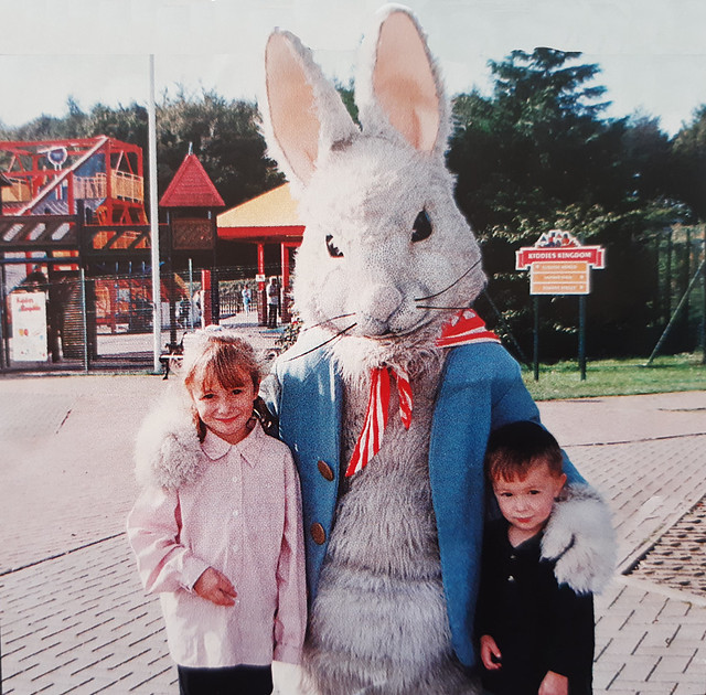 Peter Rabbit outside Kiddies Kingdom on the site that would become Storybook Land in 1996