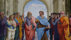 Leonardo(?) as Plato holding his Timaeus and Aristotle holding his Nichomachean Ethics