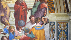 Zoroaster or Strabo, Claudius Ptolemy (from behind), Raphael as Apelles, Il Sodoma as Protogenes