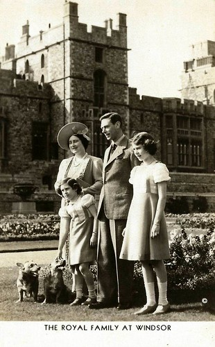 Vintage Postcard Collection - The Royal Family At Windsor, Circa Mid-1930s. The Queen's dogs were Corgis then too., From FlickrPhotos