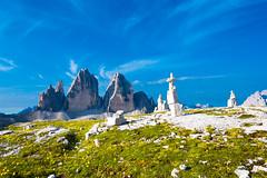 Tre Cime di Lavaredo and stones
