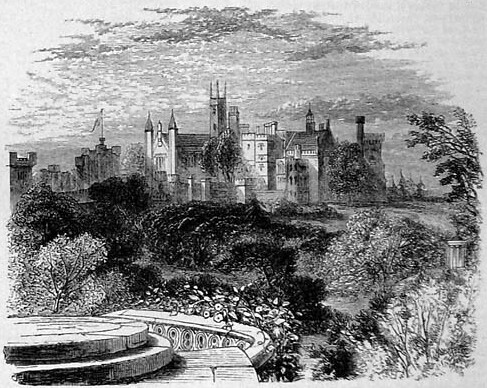 A sketch of the garden from the Gothic Prospect Tower from 1869