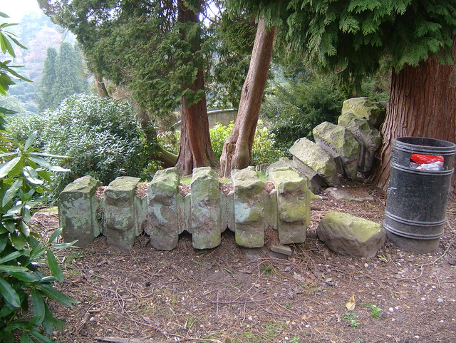 Carved Columns from an old feature behind he conservatories