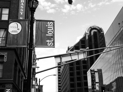 St. Louis banner with Stifel building in the background