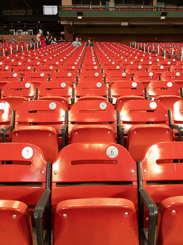 Red seats in Busch Stadium