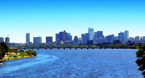Boston Skyline and Harvard Bridge