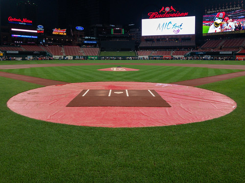Standing behind homeplate at Busch Stadium