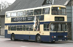 Photo of Stagecoach North West 14267 J127 XHH in Barrow Corporation heritage livery passes through Kendal working on X35 services to Barrow in Furness.