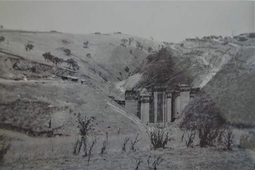 Myponga. Just a few kilometres from the town is the Myponga reservoir. The dam wall. This view of its construction taken 1961. .