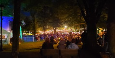 across audience to beer tent night