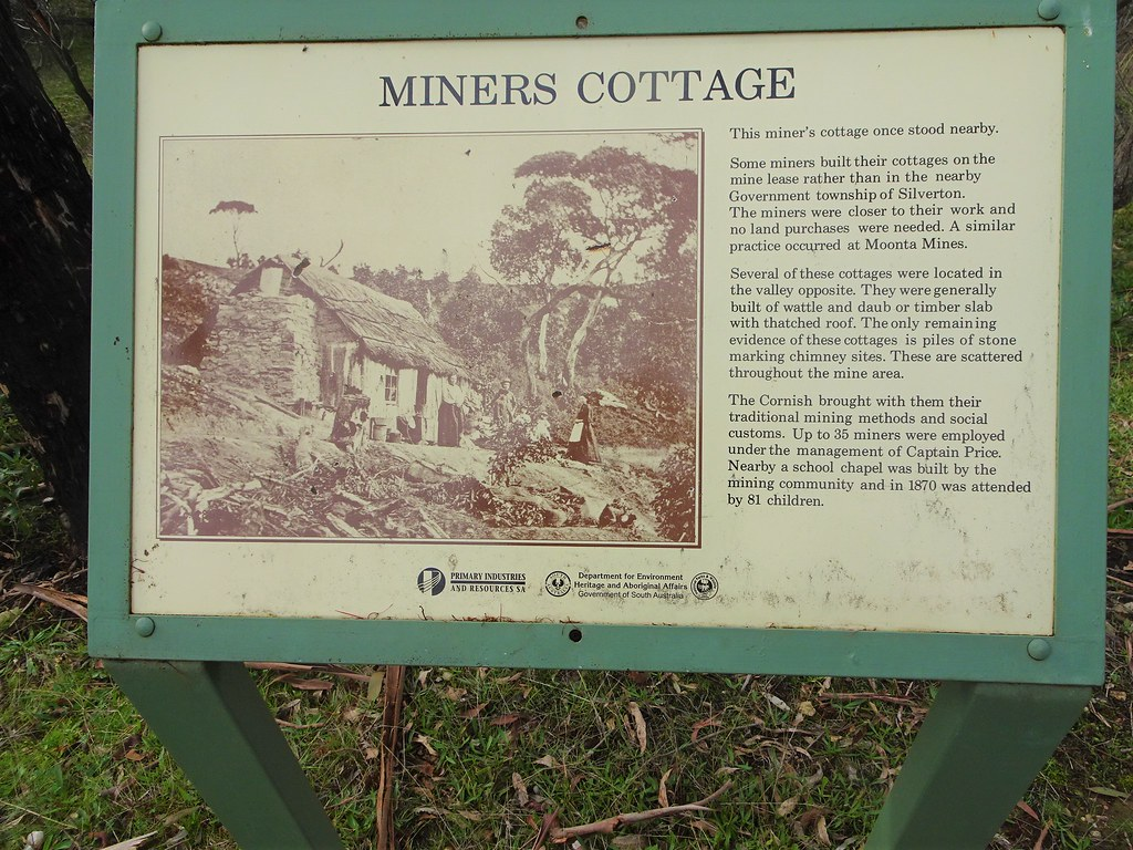 Talisker silver mine. Near Cape Jervis Fleurieu Peninsula. Information board about the remains of an old miners cottage. The silver lead mine operated from 1862 to  1872. .