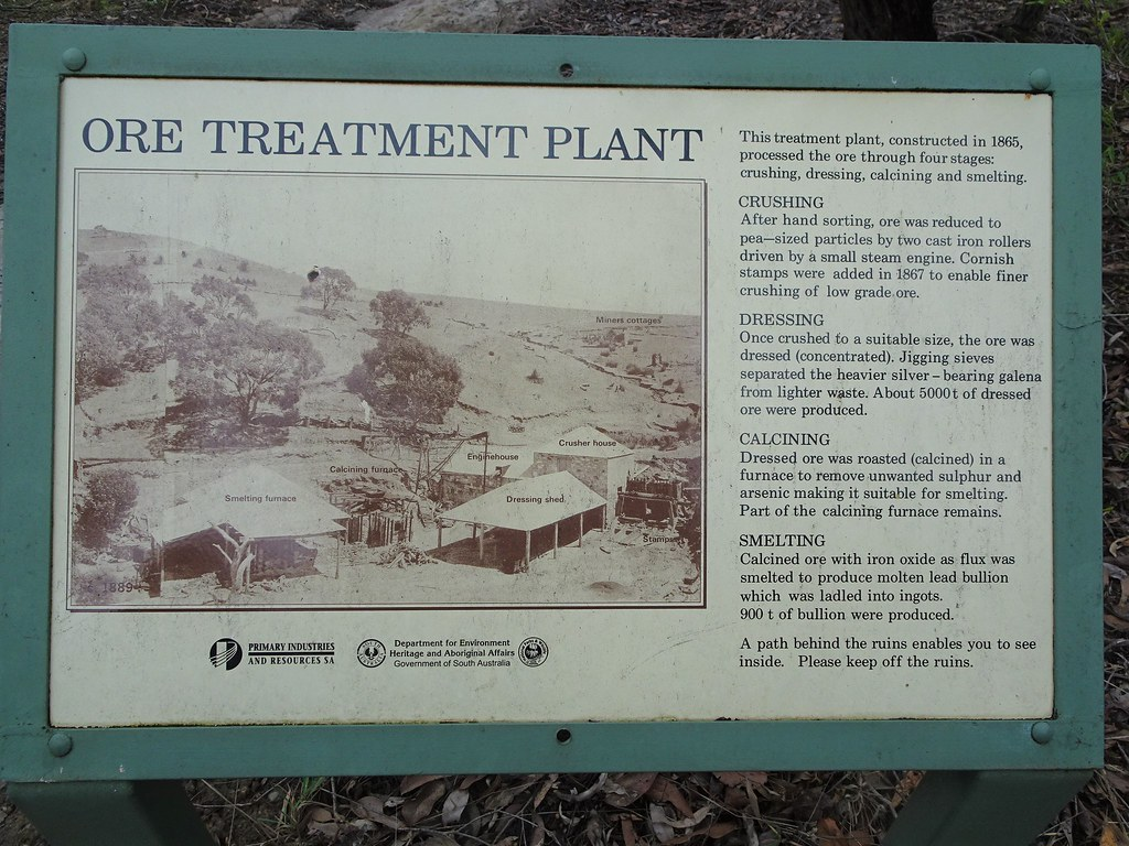 Talisker silver mine. Near Cape Jervis Fleurieu Peninsula. Information board about the ore treatment plants. The silver lead mine operated from 1862 to  1872. .
