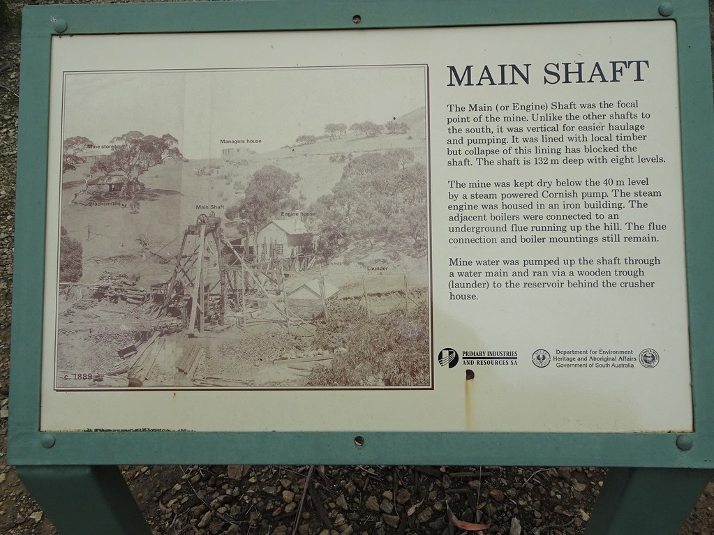Talisker silver mine. Near Cape Jervis Fleurieu Peninsula. Information board about the main silver lead shaft. The silver lead mine operated from 1862 to  1872. .