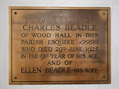 Photo of Arkesden Church of St Mary Charles Beadle 1925 and Ellen Beadle of Wood Hall brass plaque, Essex, England