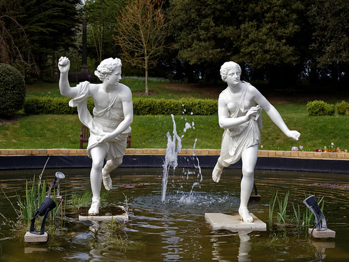 Atalanta and Hippomenes in pond at Quex House Birchington Kent England