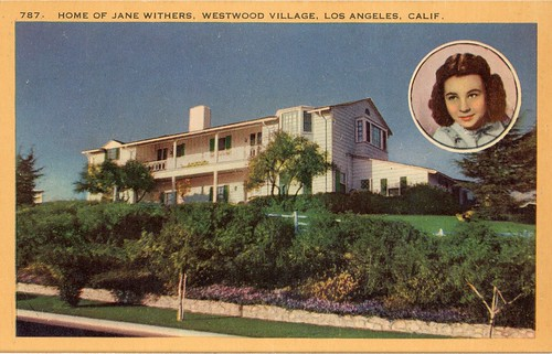 Home of Jane Withers Westwood Village Los Angeles California Vintage Postcard