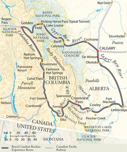 Royal Canadian Pacific Rockies Experience map