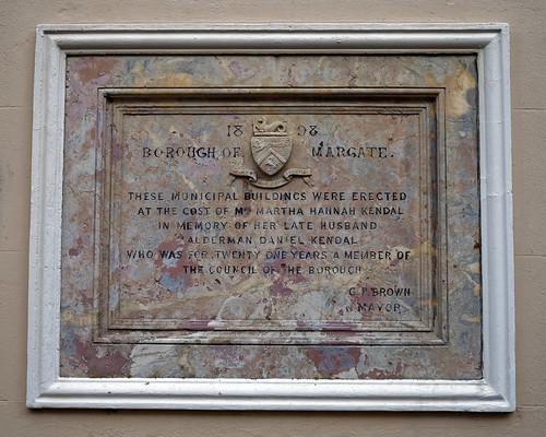 1898 municipal building plaque Market Place Margate Kent England