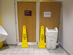 Photo of Sainsbury's toilet cubicles out of order, Low Hall, Chingford, London, June 2017