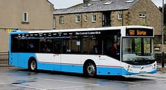 Photo of Kirkby Lonsdale Coach Hire (part of the Shaw, Travellers Choice group, Carnforth) BT63UUV stands in Skipton Bus Station with a terminated 580 'Craven Connection' service from Lancaster via Settle.