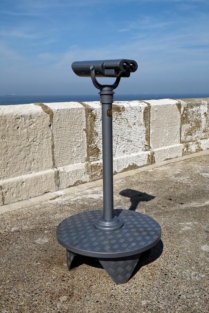 Binoculars stationary pier mounted at Margate Kent England