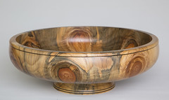 "Large Monkey Puzzle turned wooden bowl,  ...34.2cm / 13 1\2""."