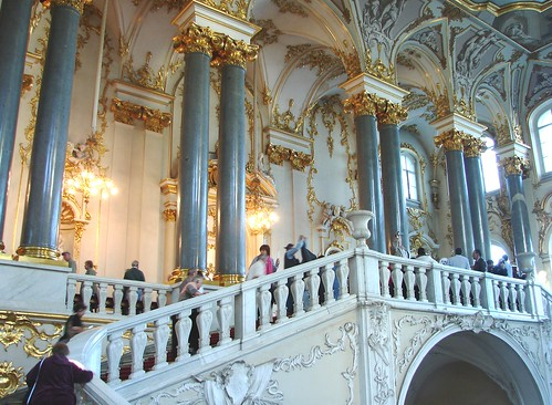 Main Entrance, Part of the Jordan Staircase into The Hermitage Museum, St. Petersburg, Russia