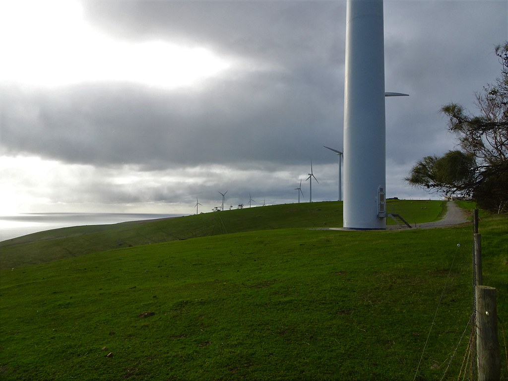 Cape Jervis. Fleurieu Peninsula. Starfish Hill wind farm. This wind farm erected in 2003 was the first in South Australia.