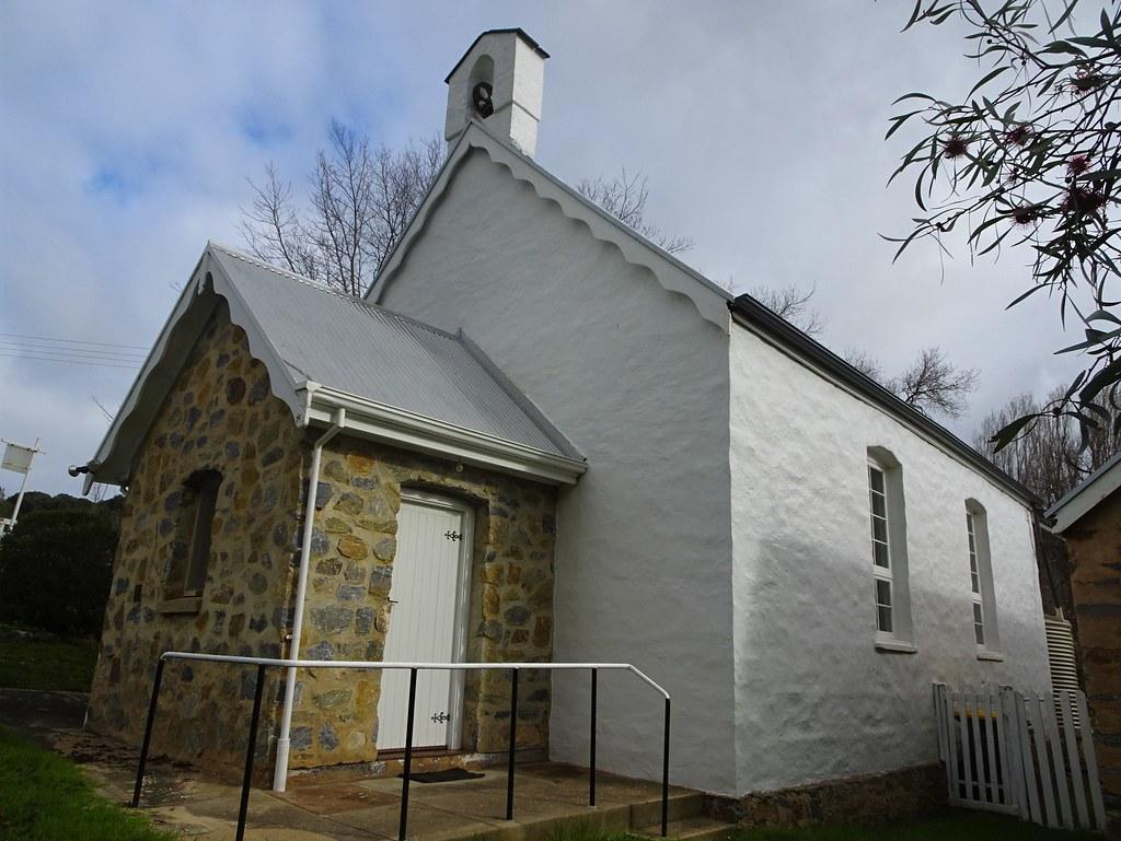 Delamere on the Fleurieu Peninsula. The old Wesleyan Methodist church built in 1858. Originally known as Glenburn Wesleyan Chapel. Now a Uniting Church.