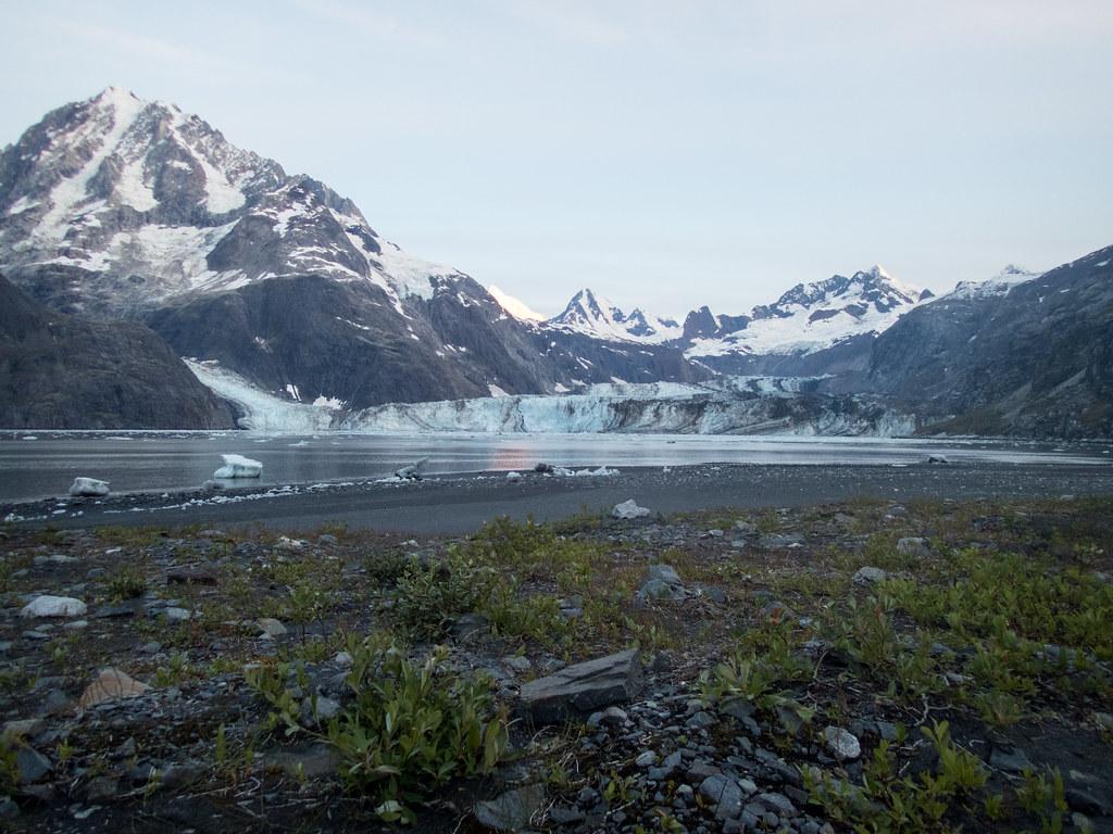 Black sand beach campsite, Glacier Bay National Park, Alaska