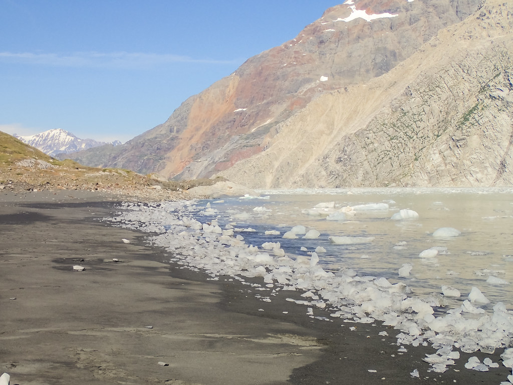 Beached ice at the black sand beach campsite in Johns Hopkins Inlet, Glacier Bay National Park, Alaska