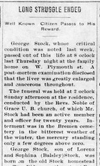 1914 - George Stock obit - Bremen Enquirer - 12 Feb 1914