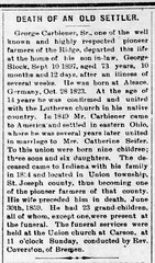 1897 - George Carbiener Sr obit - Enquirer - 17 Sep 1897