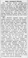 1932 - Annie Stock obit - Enquirer - 19 May 1932