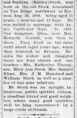 1914 - George Stock obit 2 - Bremen Enquirer - 12 Feb 1914