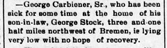 1897 - George Carbiener dying at George Stock farm - Enquirer - 10 Sep 1897