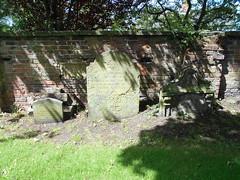 Photo of Wem churchyard, Shrops. Mid 19c. grave markers.