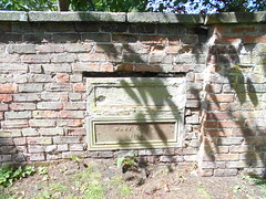 Photo of Wem churchyard, Shrops. Cast-iron memorial tablet of 1884.