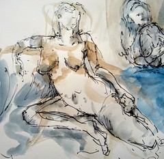 Photo of Life Drawing online @ohfrancois Ink/wash drawing. 10 minute pose.